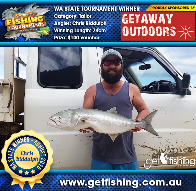 Chris Biddulph takes out Australian Fishing Tournaments WA State winner for his Tailor